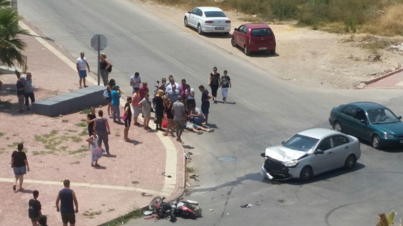 Hurma'da kontrolsüz kavşakta kaza