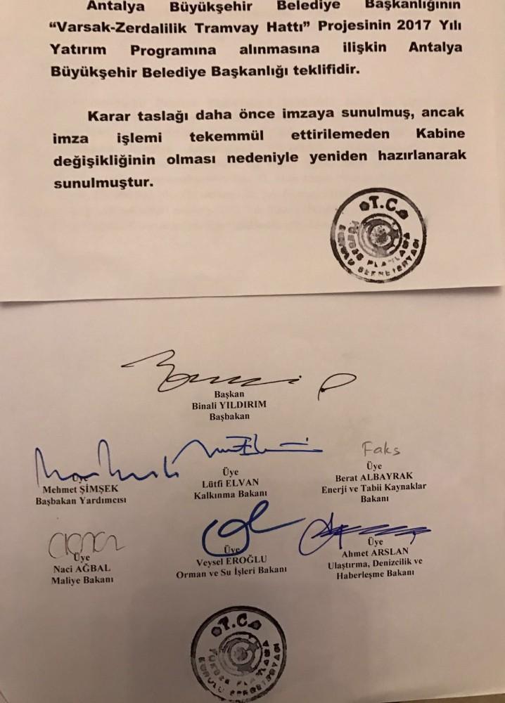 Antalya'da 3'üncü etap raylı sisteme Başbakan Yıldırım'dan onayı