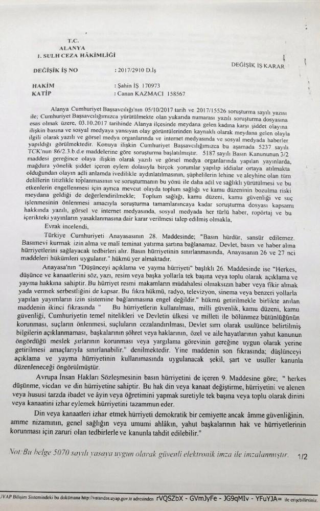 Antalya'daki olayla ilgili yayın yasağı getirildi