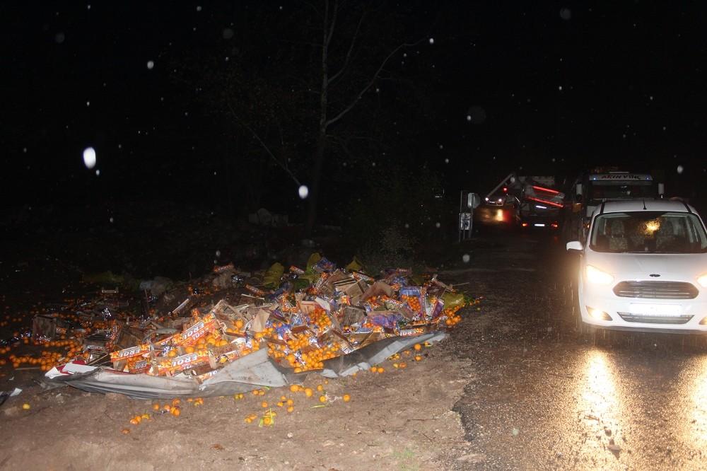 Narenciye yüklü kamyon devrildi, sürücüsü öldü