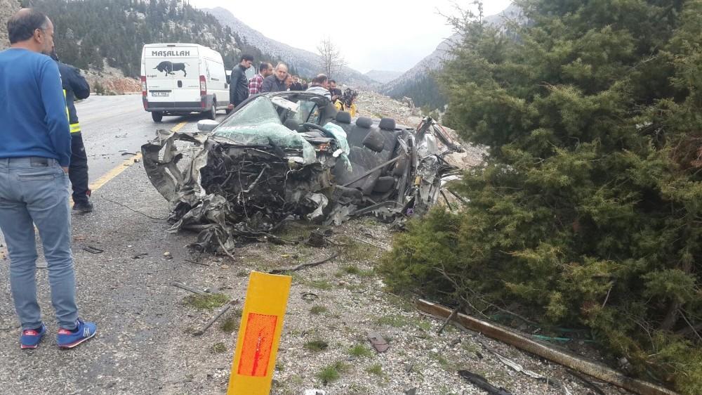Akseki-Seydişehir yolunda feci kaza: 1 ölü, 1 yaralı