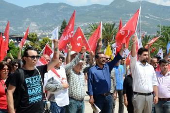 Alanya'da 1 mayıs kutlamaları sönük geçti