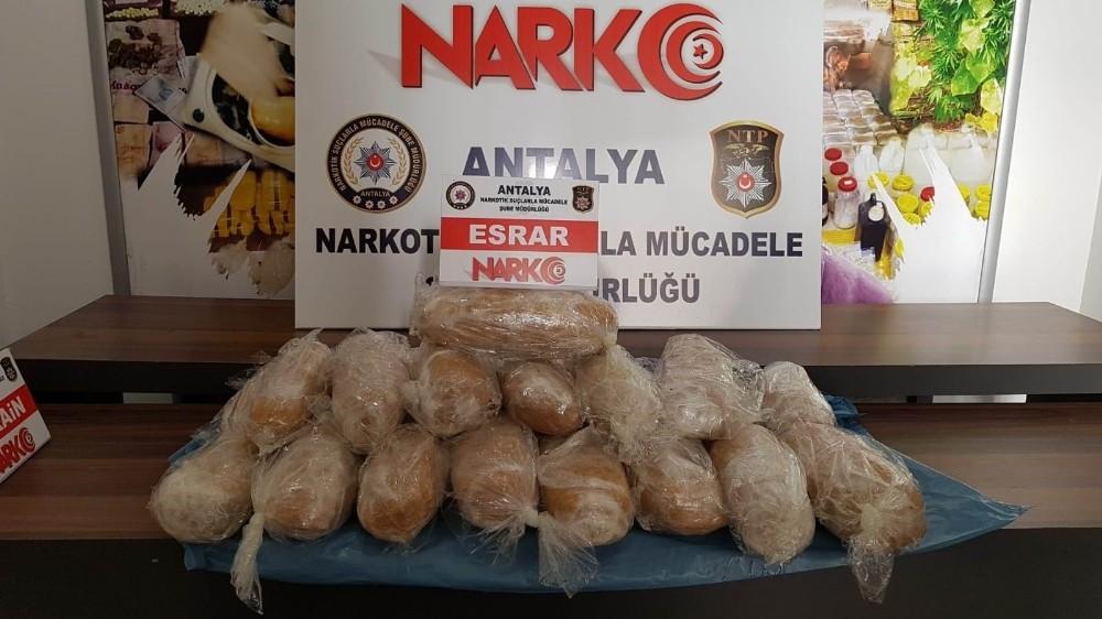 Antalya'da 19 kilogram esrar ele geçirildi