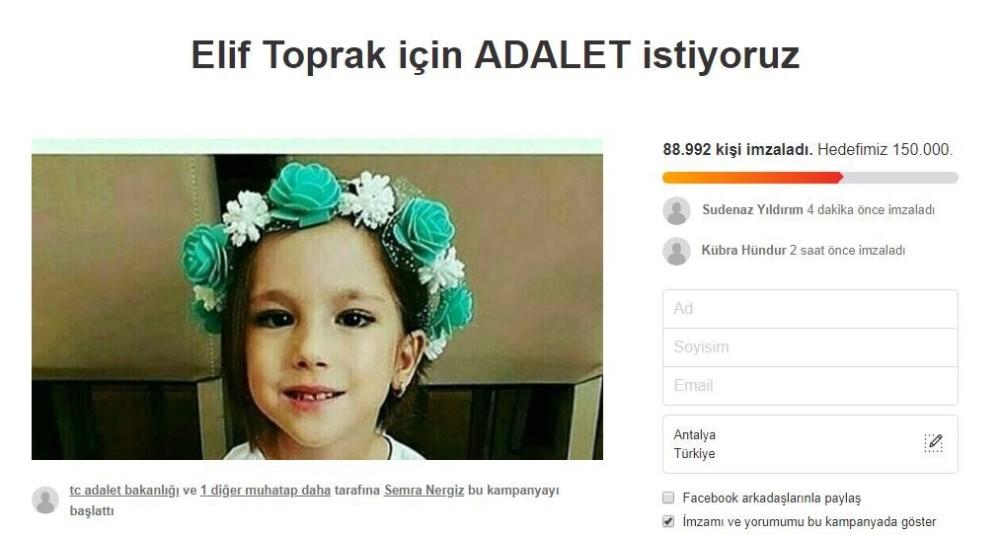 Minik Elif'in annesinin hedefi 1 milyon imza