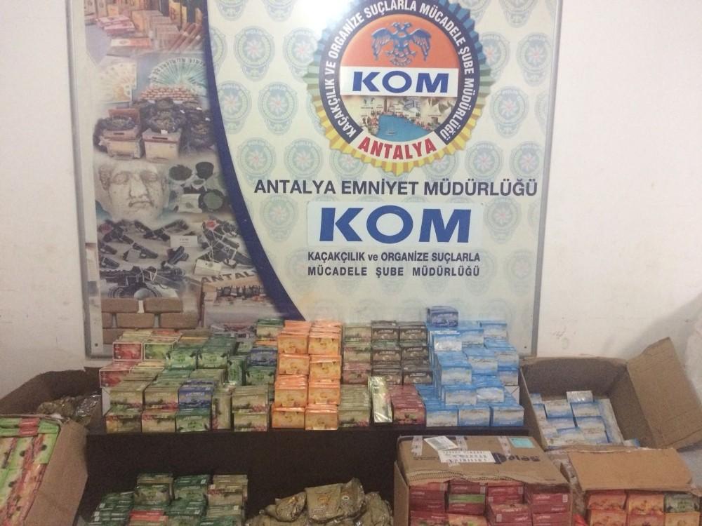 Antalya'da 281 kilo kaçak nargile tütünü ele geçirildi