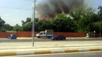 Eski ANTBİRLİK alanında çıkan ot çalı yangını korkuttu