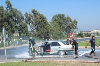Manavgat'ta otomobil yangını