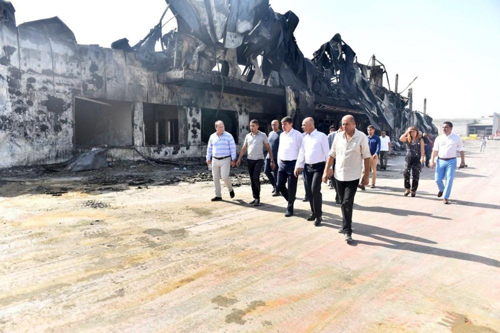 Türel OSB'de yanan fabrikayı ziyaret etti