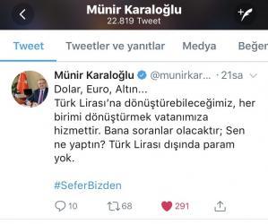 Antalya Valisinden TL'ye destek paylaşımı