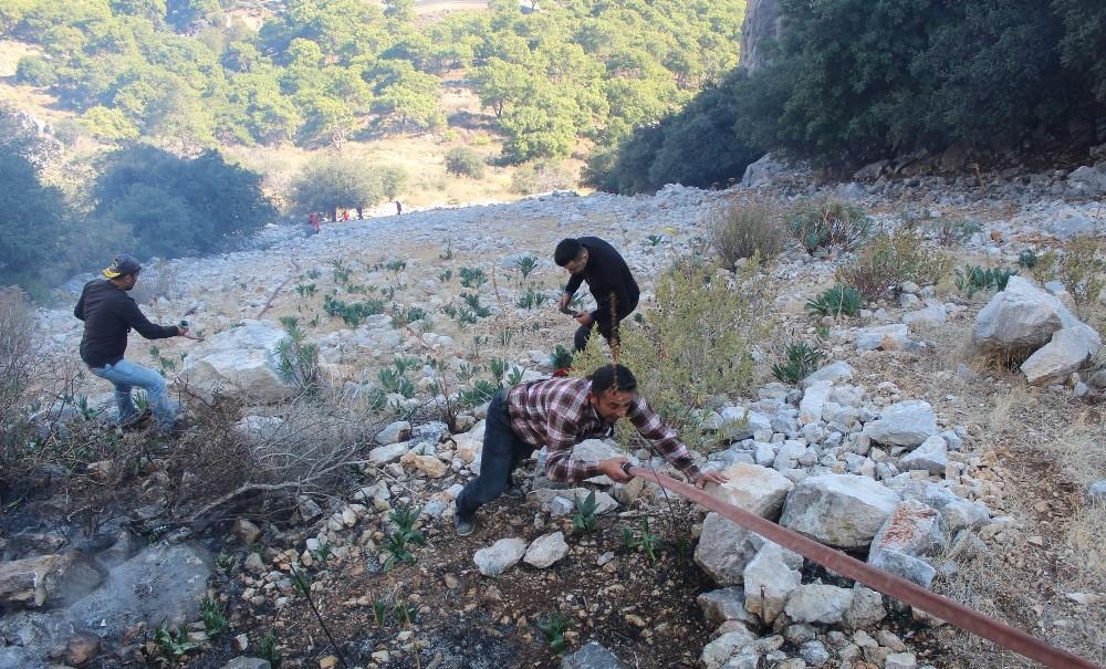 Antalya'da sarp arazide çıkan yangında hortum taşıma seferberliği