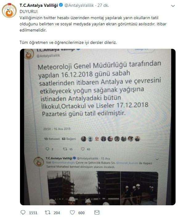 """Antalya Valiliği: """"Yarın okulların tatil olduğu asılsızdır, itibar edilmemelidir"""""""
