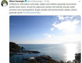 Vali Karaloğlu'ndan tatil isteyen öğrencilere güneşli Antalya cevabı